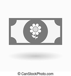 Isolated bank note icon with a flower - Illustration of an...