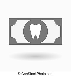 Isolated bank note icon with a tooth - Illustration of an...