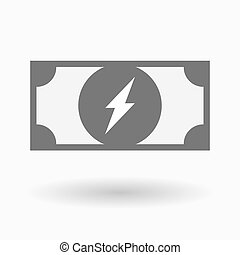 Isolated bank note icon with a lightning - Illustration of...