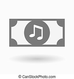 Isolated bank note icon with a note music - Illustration of...
