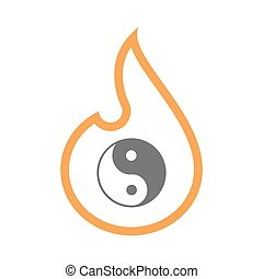 Isolated isolated line art flame icon with a ying yang