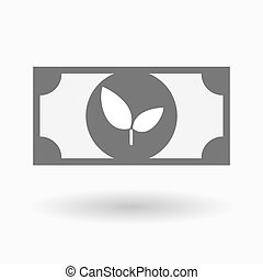 Isolated bank note icon with a plant - Illustration of an...