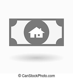 Isolated bank note icon with a house - Illustration of an...