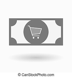 Isolated bank note icon with a shopping cart - Illustration...