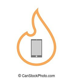 Isolated isolated line art flame icon with a smart phone