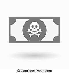 Isolated bank note icon with a skull - Illustration of an...