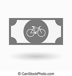 Isolated bank note icon with a bicycle - Illustration of an...