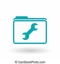 Isolated line art folder icon with a wrench - Illustration...