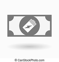 Isolated bank note icon with a battery - Illustration of an...