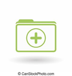 Isolated line art folder icon with a sum sign - Illustration...