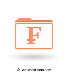 Isolated line art folder icon with a swiss franc sign -...