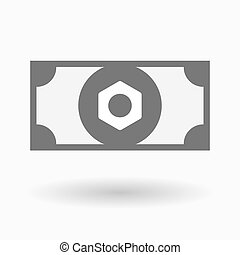 Isolated bank note icon with a nut - Illustration of an...