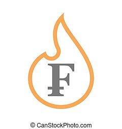 Isolated isolated line art flame icon with a swiss franc...