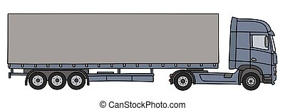 Blue cover semitrailer - Hand drawing of a blue long cover...