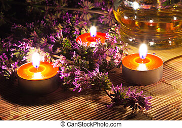 Tea candles and lavender