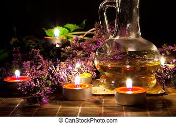 té, velas, aceite, Lavanda