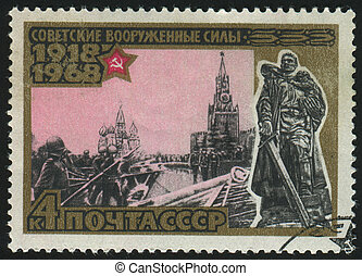 postmark - RUSSIA - CIRCA 1968: stamp printed by Russia,...