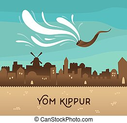 skyline of old city Jerusalem Yom kippur , Jewish holiday -...