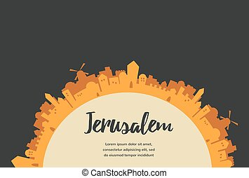 Holy City, Middle East Town, Jerusalem Vector illustration