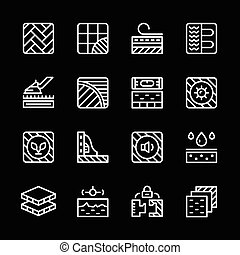 Set line icons of floor isolated on black Vector...