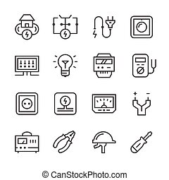 Set line icons of electricity isolated on white. Vector...
