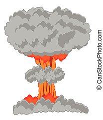 Nucleus blast on white - Atomic blast on white background is...