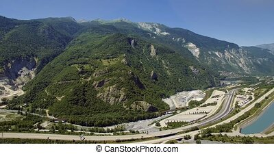 4K Aerial, Flying along Autoroute De La Maurienne, France -...