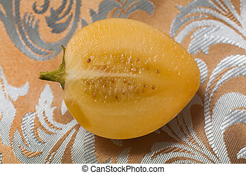 Pepino Melon (Solanum muricatum) - The cross-section of a...