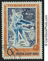 postmark - RUSSIA - CIRCA 1970: stamp printed by Russia,...