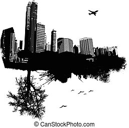 City combined with nature. Vector