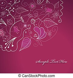 Purple illustration with flowers.