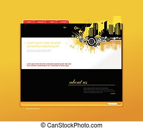 Website template with city. Vector art