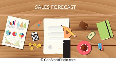 sales forecast illustration with wooden table with graph chart money paper document and business man sign