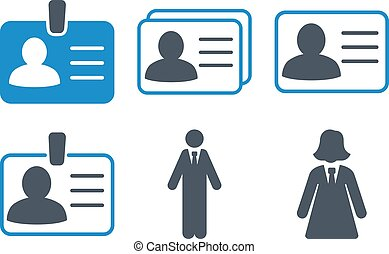 Person Account Card Flat Vector Icons