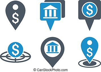 Bank Location Flat Vector Icons