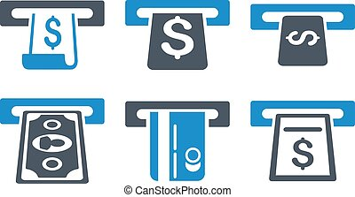 ATM Withdraw Flat Vector Icons - ATM Withdraw vector icons....