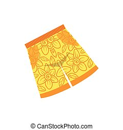 Pair Of Yellow Swimshorts With Floral Motive Bright Color...