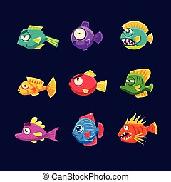 Colorful Tropical Fish Set Of Bright Color Vector Icons...