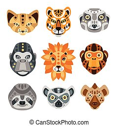 African Animals Stylized Geometric Heads Set Of Flat...