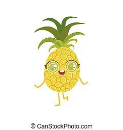 Pineapple Girly Cartoon Character.Childish Design Sticker...