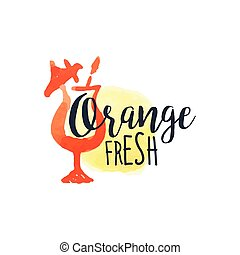 Orange 100 Percent Fresh Juice Promo Sign.Watercolor Sketch...