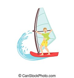 Guy Windsurfing At The Sea Bright Color Cartoon Simple Style...