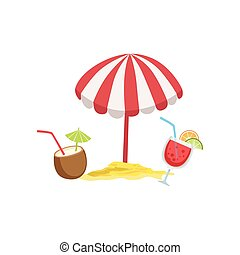 Two Cocktail Tropical Drinks And Beach Umbrella