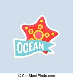 Starfish Bright Color Summer Inspired Sticker With Text