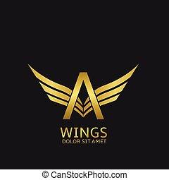 Wings A letter logo Golden creative alphabet, air emblem