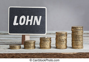 Lohn wages in German, chalk blackboard and money stacks -...
