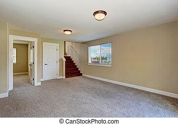 spacieux, vide, salle, dans, beige, couleur, à, moquette