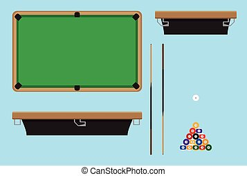Pool table top side. Billiard table and snooker table, game...