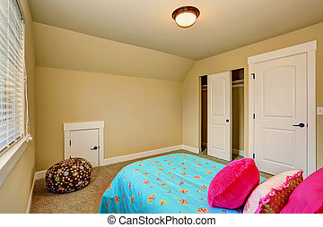 Large beige girl bedroom interior with pink bed