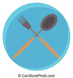 Spoon and fork crossed icon